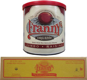 12/10oz Franny's Jumbo Organic Flame Seedless